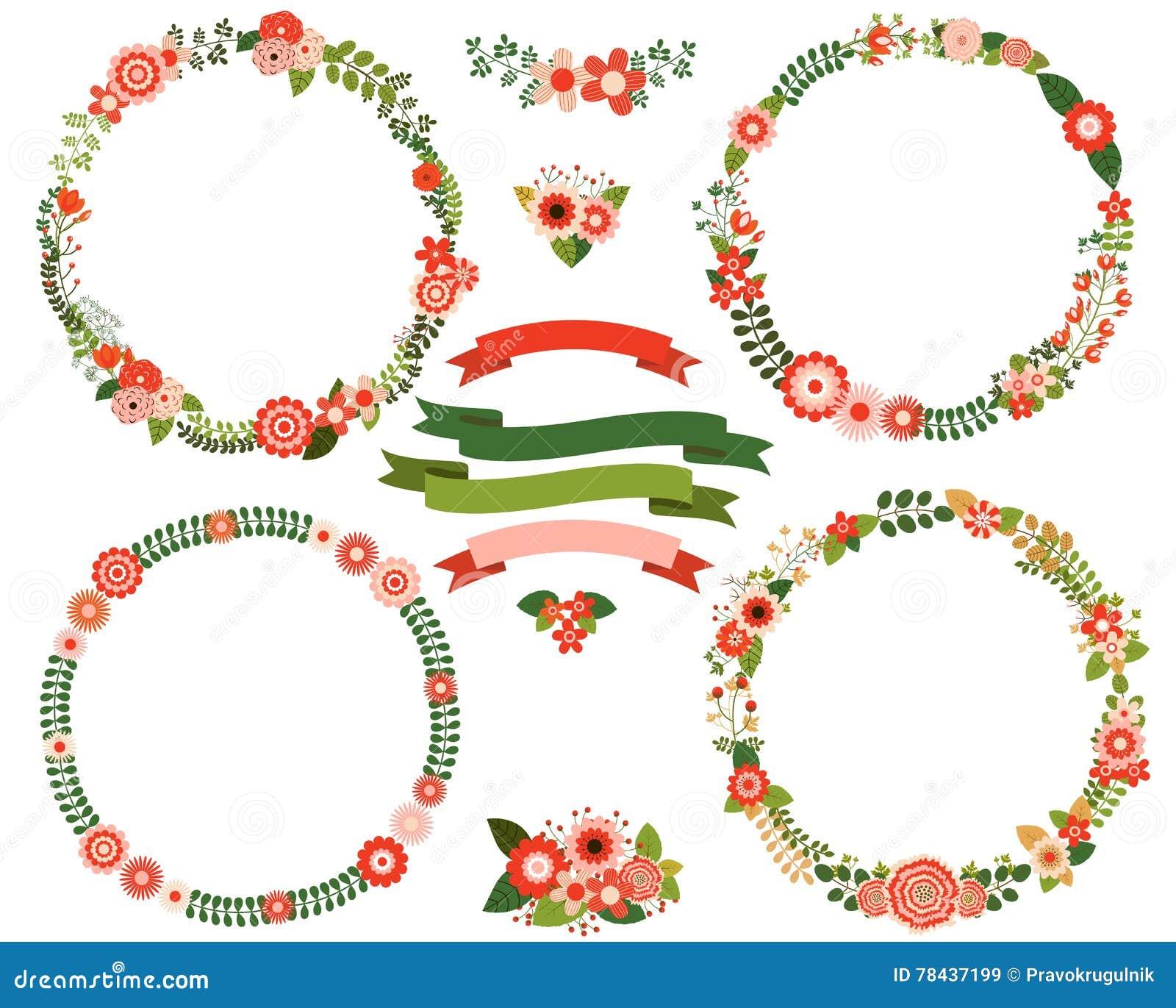 Christmas Flower Wreath Borders Stock Vector - Illustration of ...
