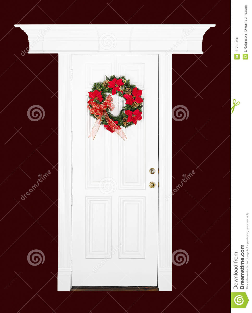 Christmas Flower Wreath On White Door Stock Photo - Image of closed ...