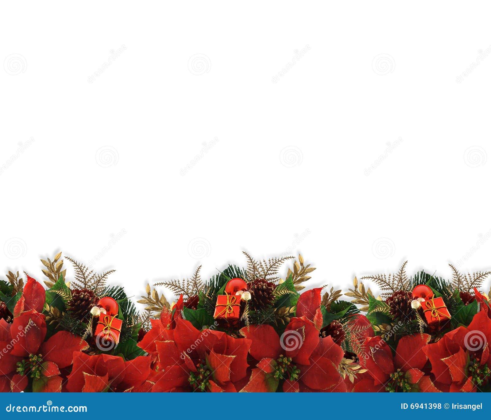 Christmas flowers border poinsettias stock illustration