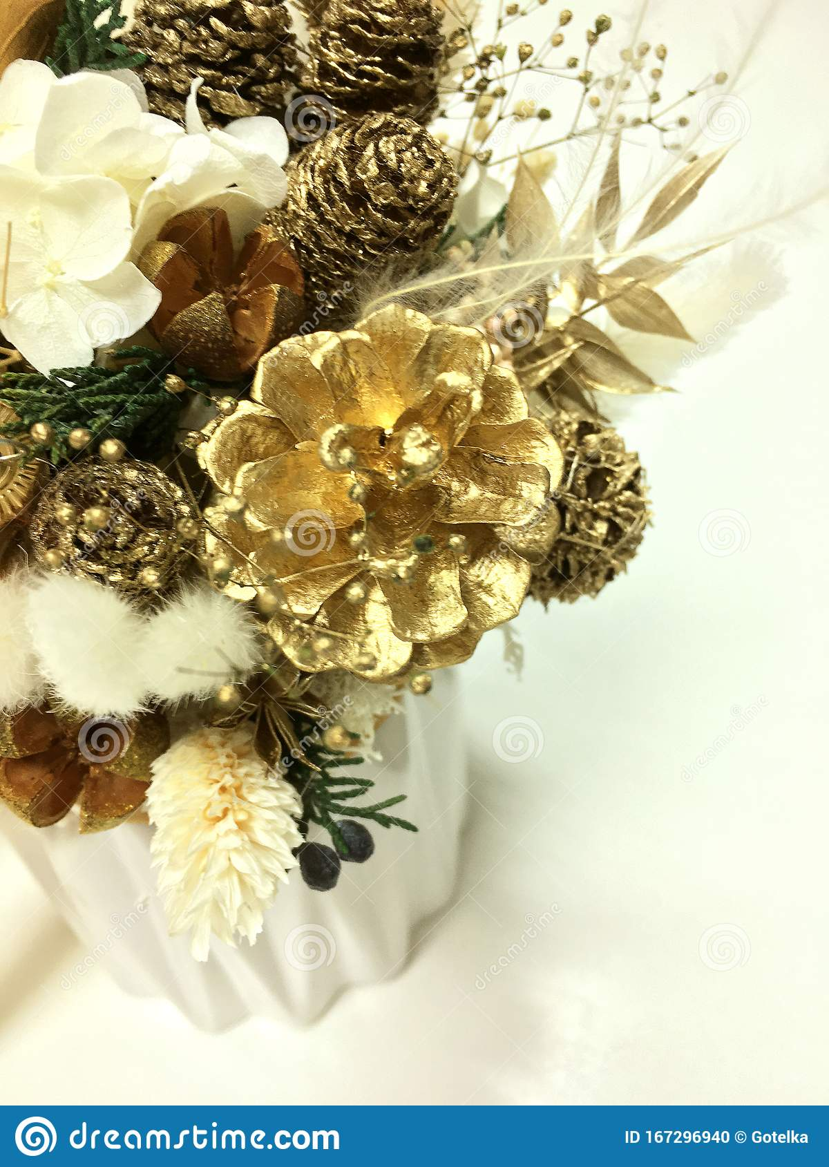 Christmas Flowers Composition Gold And White Color White Preserved Hydrangea Gold Pine Cones Natural Spruce Branches Stock Photo Image Of Nature Decor 167296940