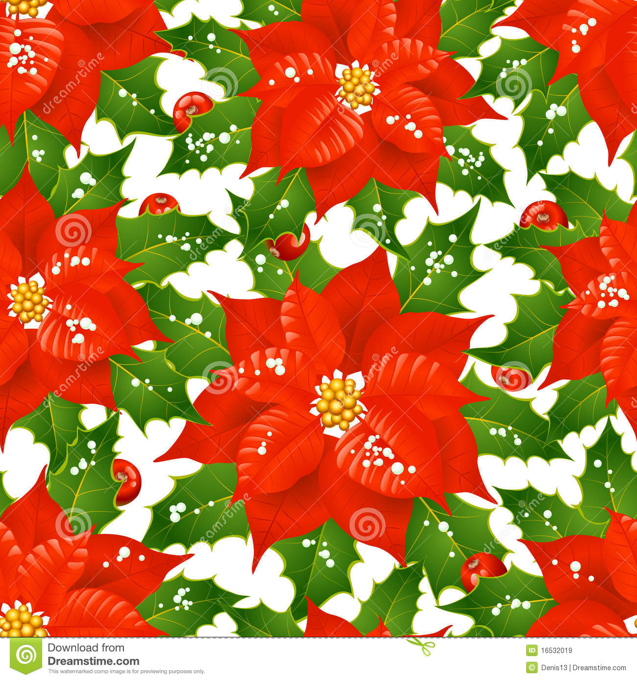 Christmas flowers seamless background royalty free stock