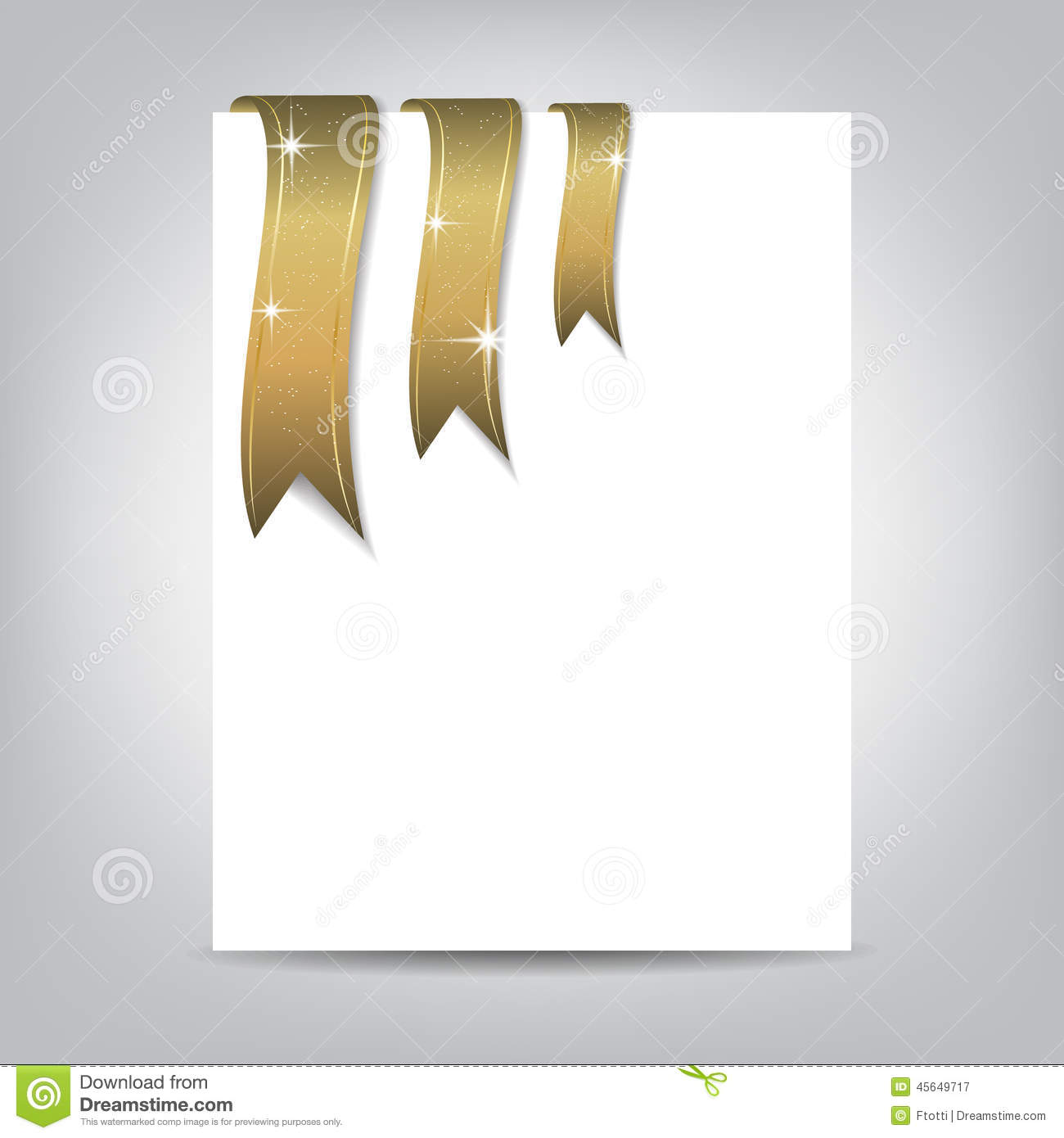 christmas flyer template paper banner with gold ribbon stock vector