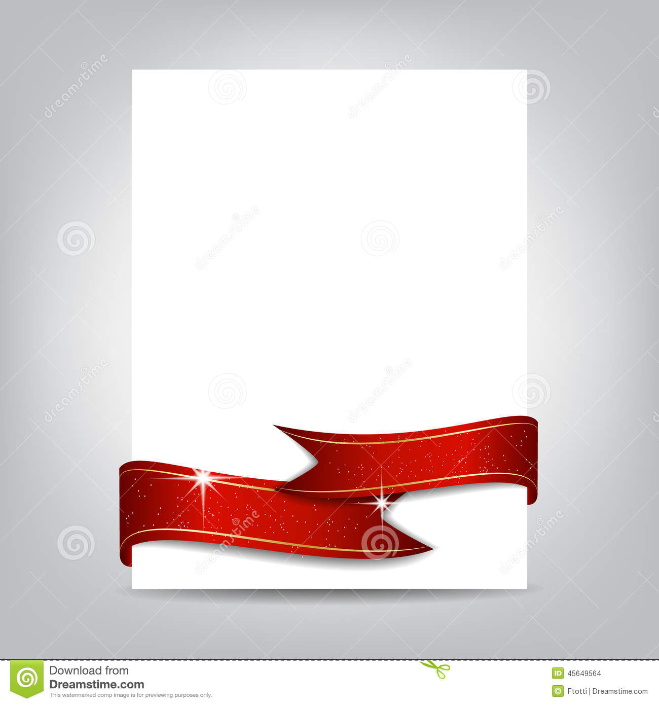 christmas flyer template paper banner with red ribbon illustration