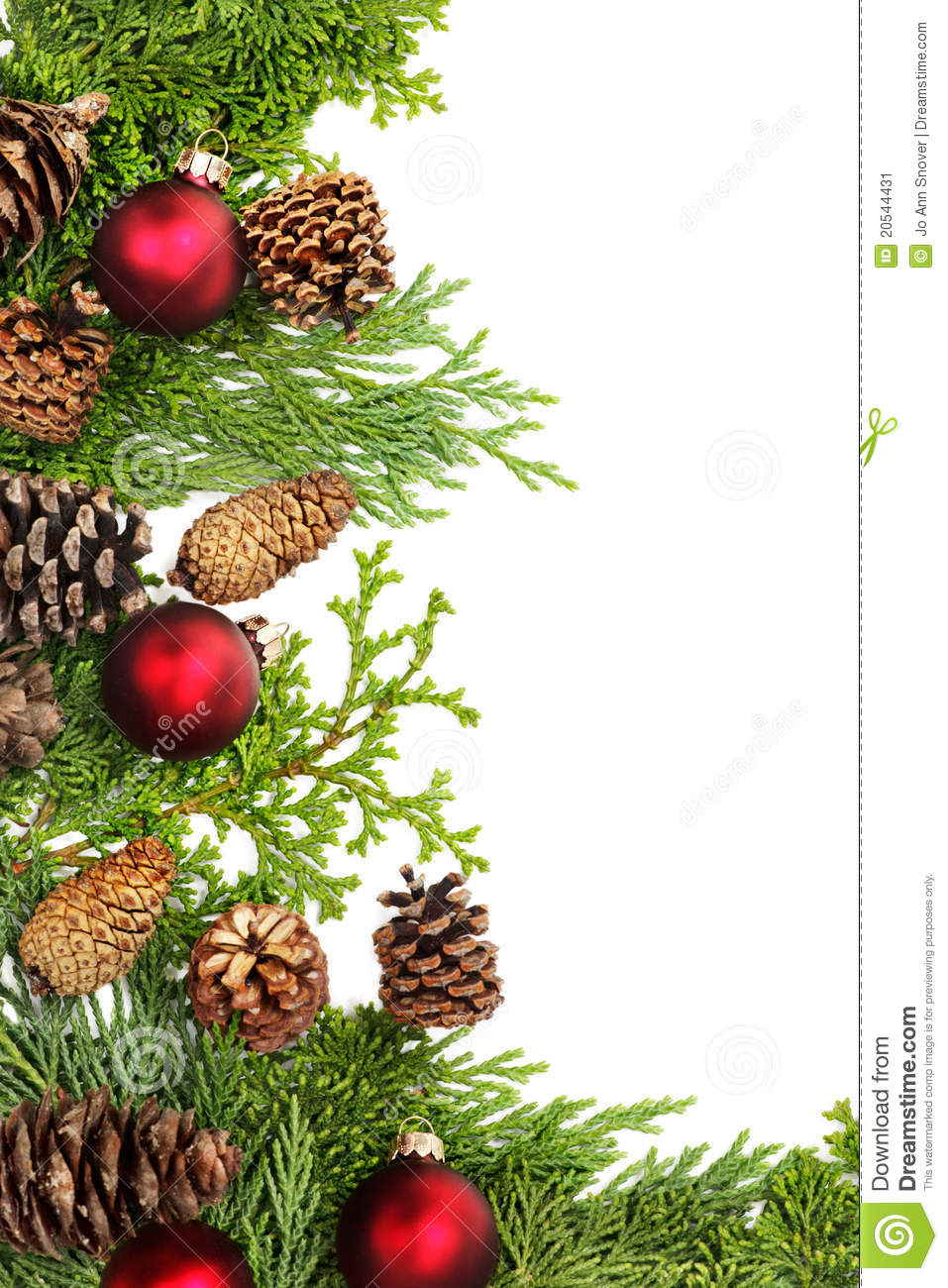 Purple and gold christmas tree decorations - Christmas Foliage Decorations Border Stock Image Image