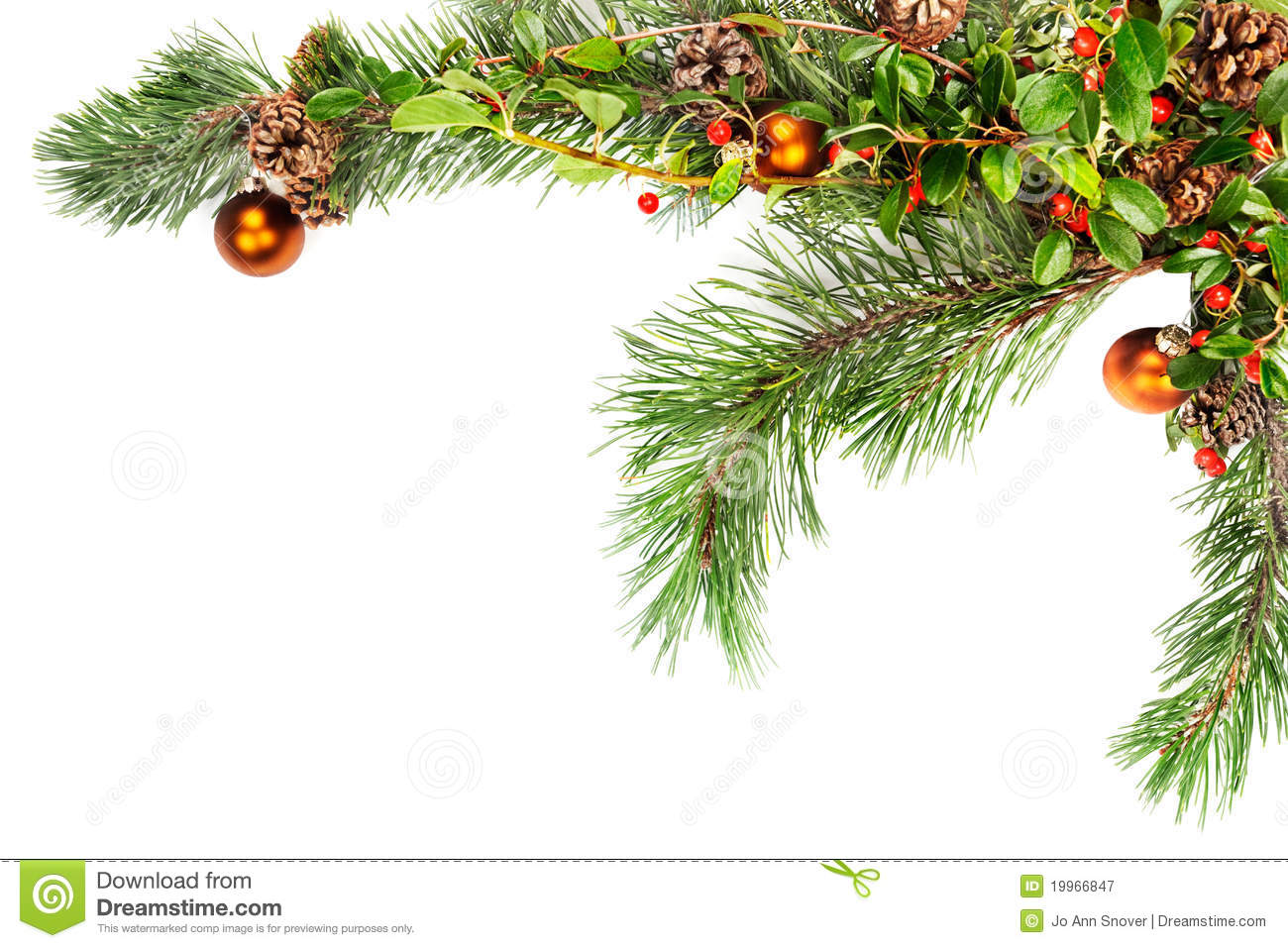 Christmas Garland With Pine Cones And Berries