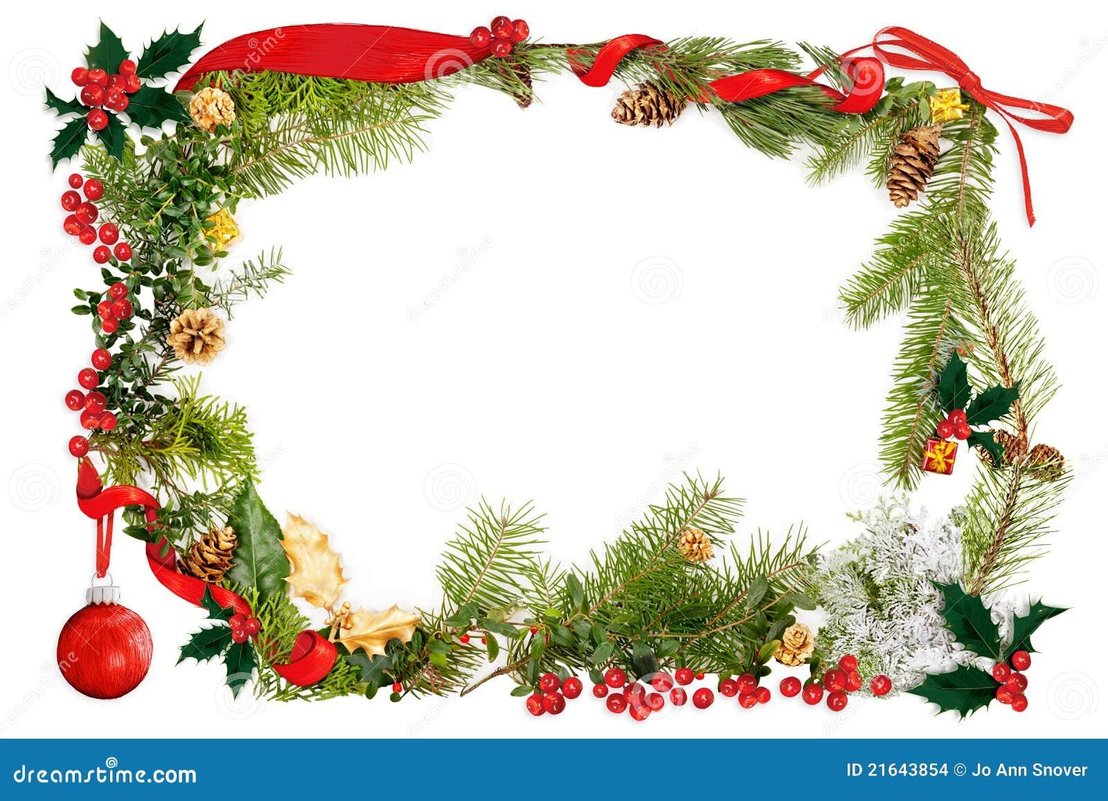 christmas foliage  u0026 ribbon frame stock illustration