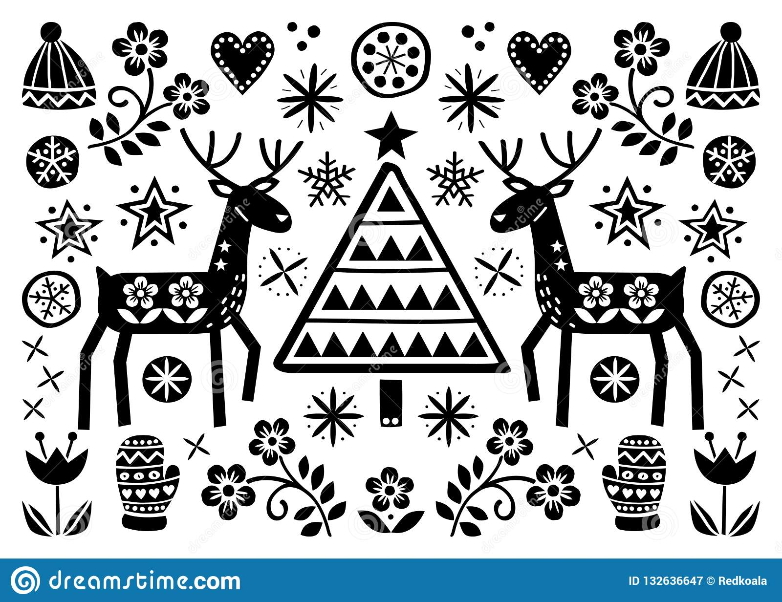 It Christmas Merr Christmas.Christmas Folk Art Greeting Card With Reindeer Flowers