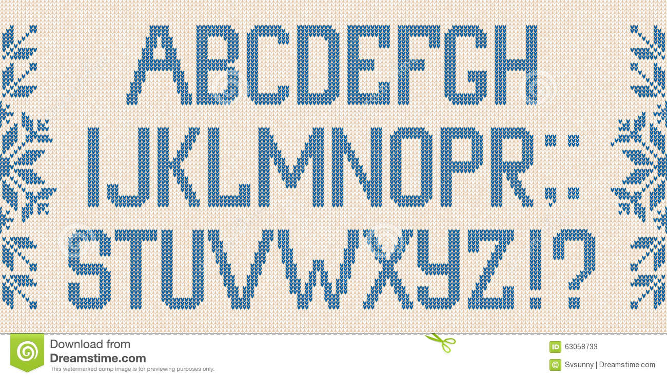 Christmas Font: Scandinavian Style Knitted Letters And Pattern ...