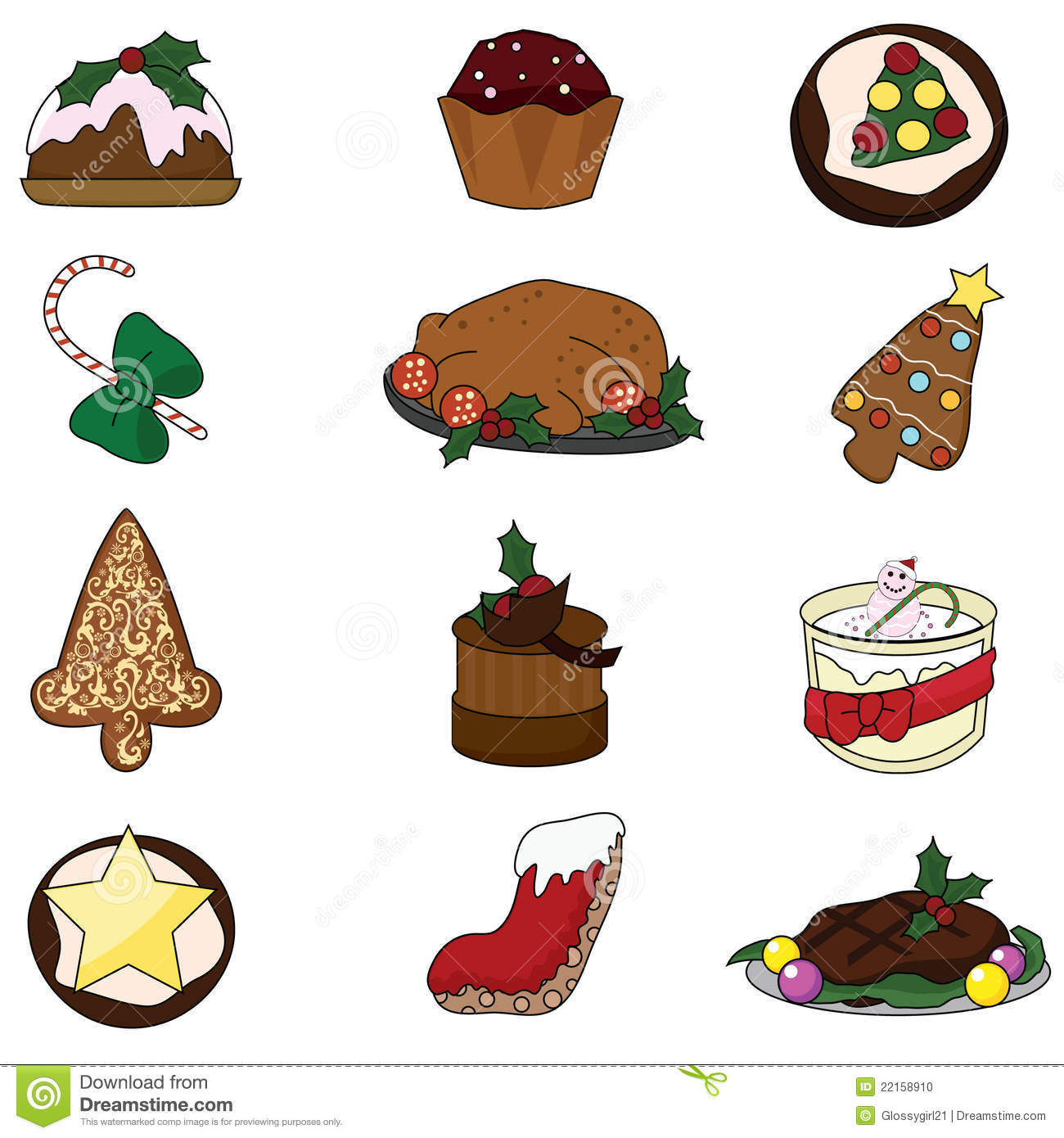 christmas food stock vector illustration of food icons 22158910 rh dreamstime com christmas food cliparts templates christmas food basket clipart