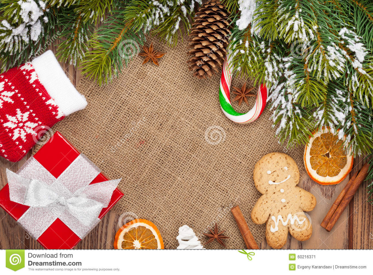 Christmas Food, Decor And Gift Box With Snow Fir Tree Background ...