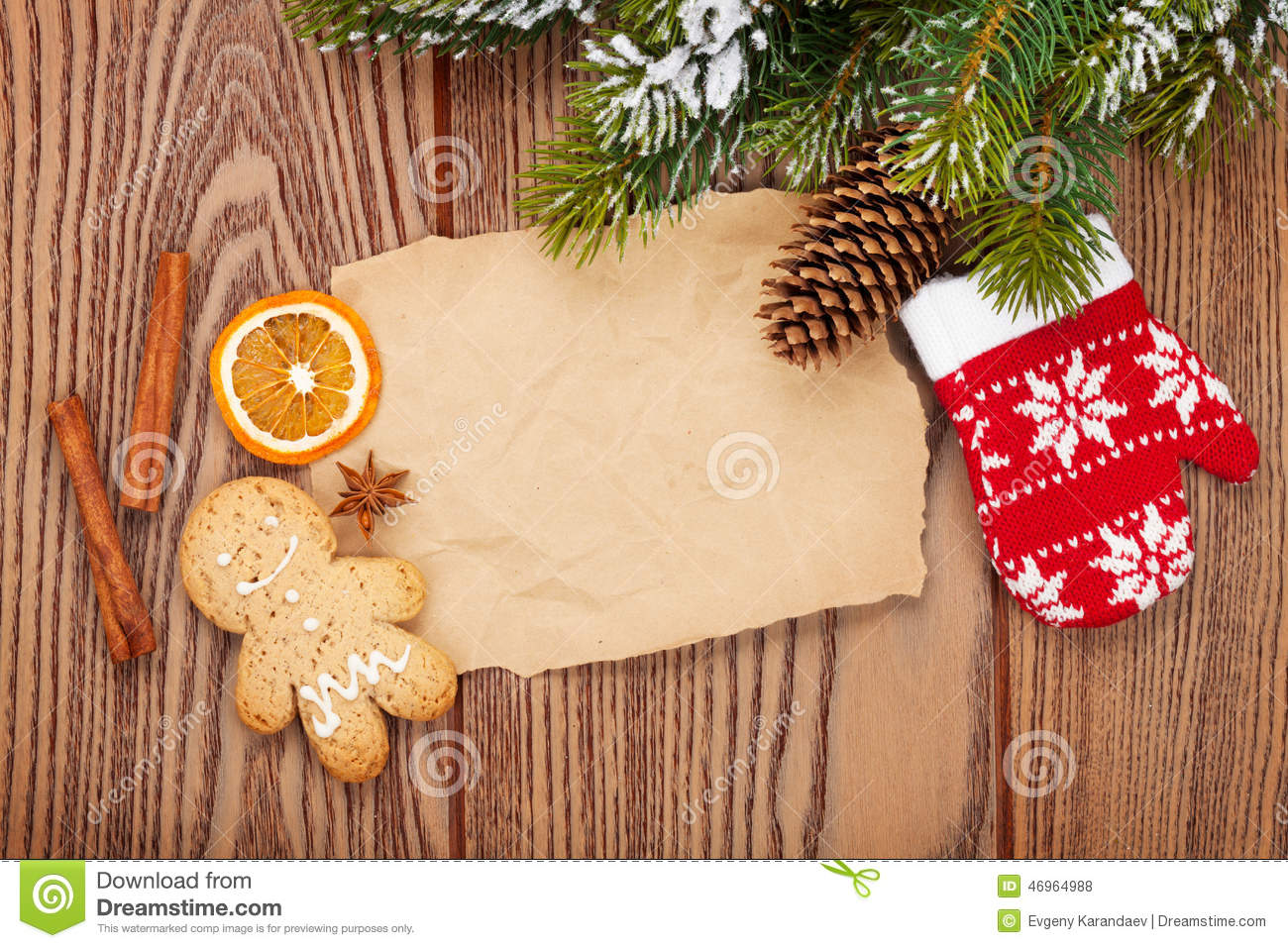 Christmas food and decor with snow fir tree background for Plaque decorative cuisine