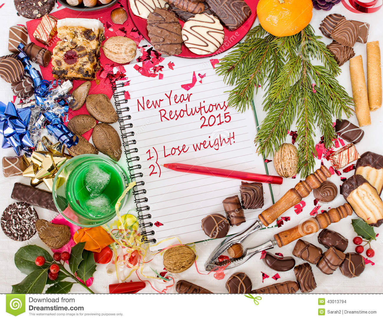 Christmas Food Feast And New Year Resolution To Diet