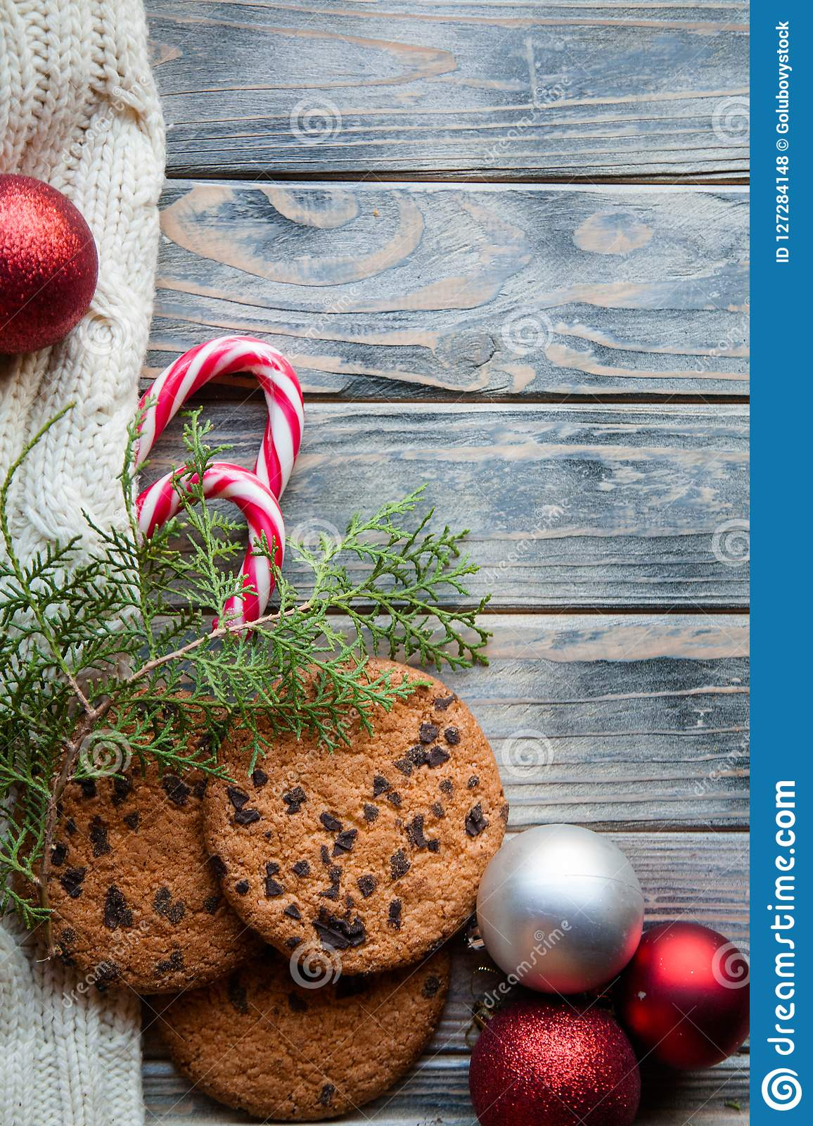Christmas Food Snack Cookies Red Ball Decor Stock Photo - Image of ...