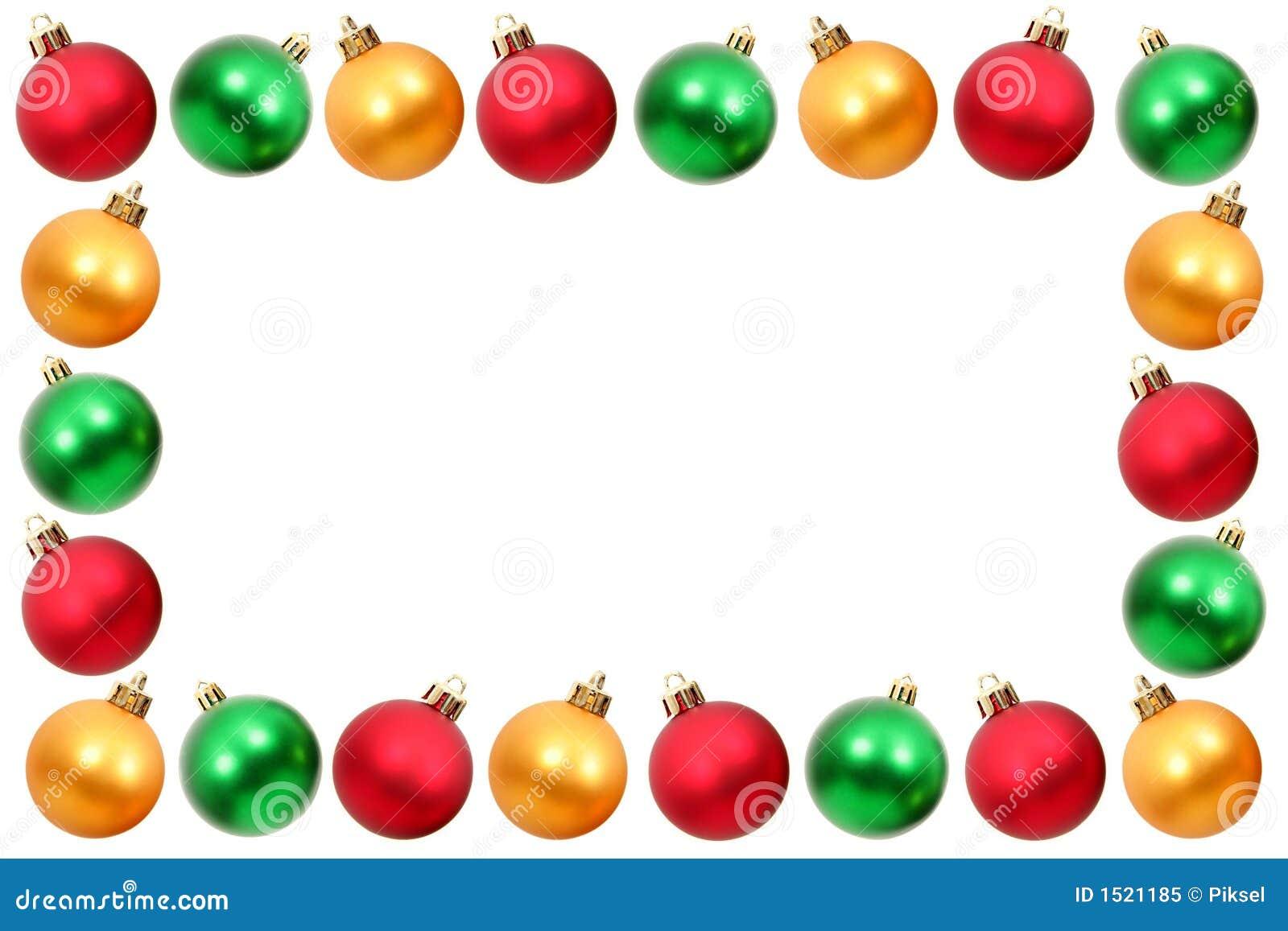Christmas frame made from colorful christmas balls.