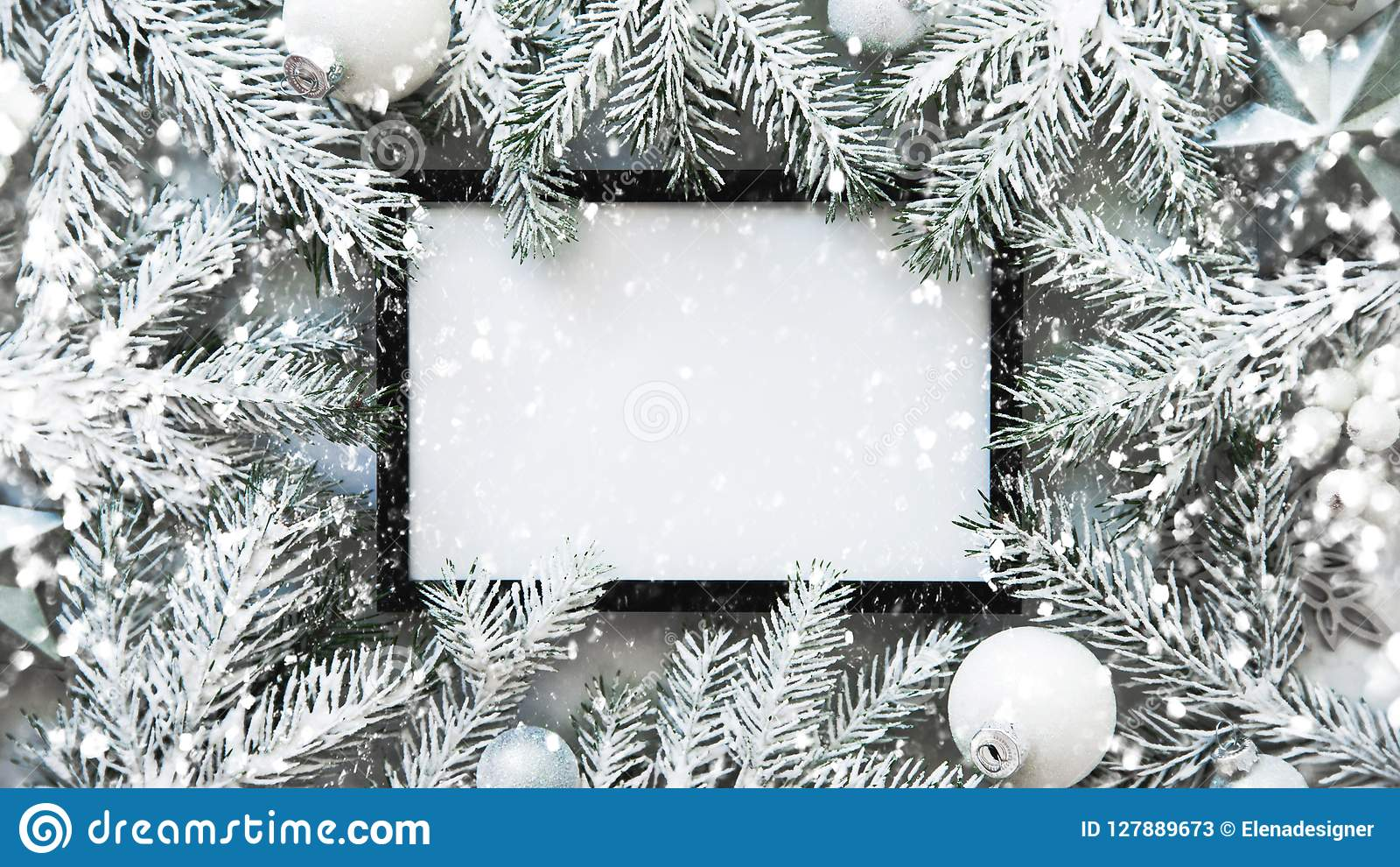 Christmas frame background with xmas tree and xmas decorations. Merry christmas greeting card, banner. Winter holiday theme.