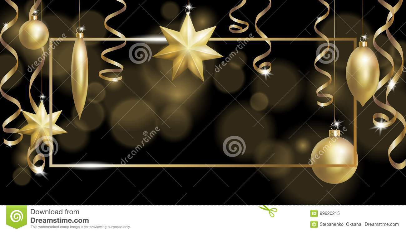 Christmas Frame Banner Template. Ball Fir Toys star golden silver sparkle serpentine streamer. New Year tree decoration
