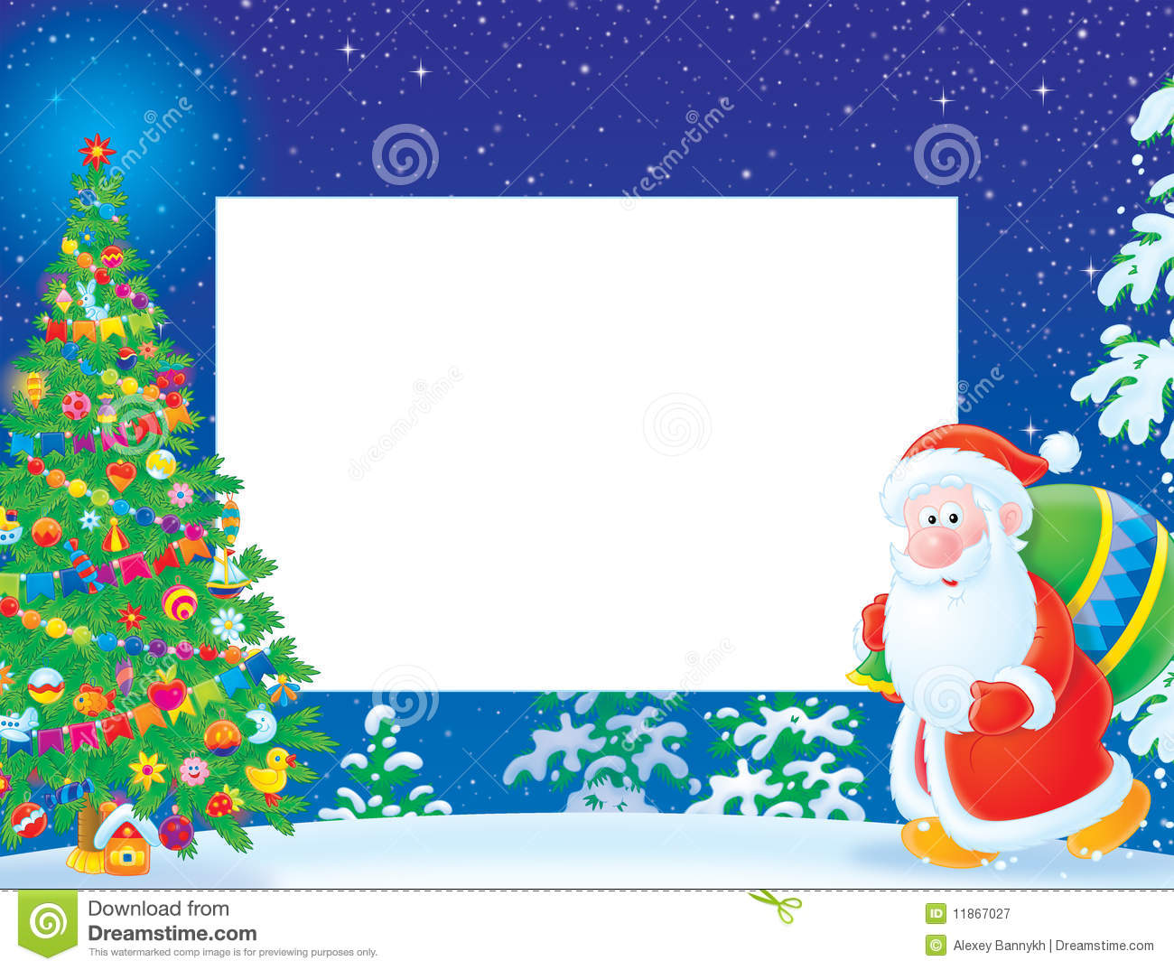 Christmas Frame Border With Santa Claus Stock Illustration
