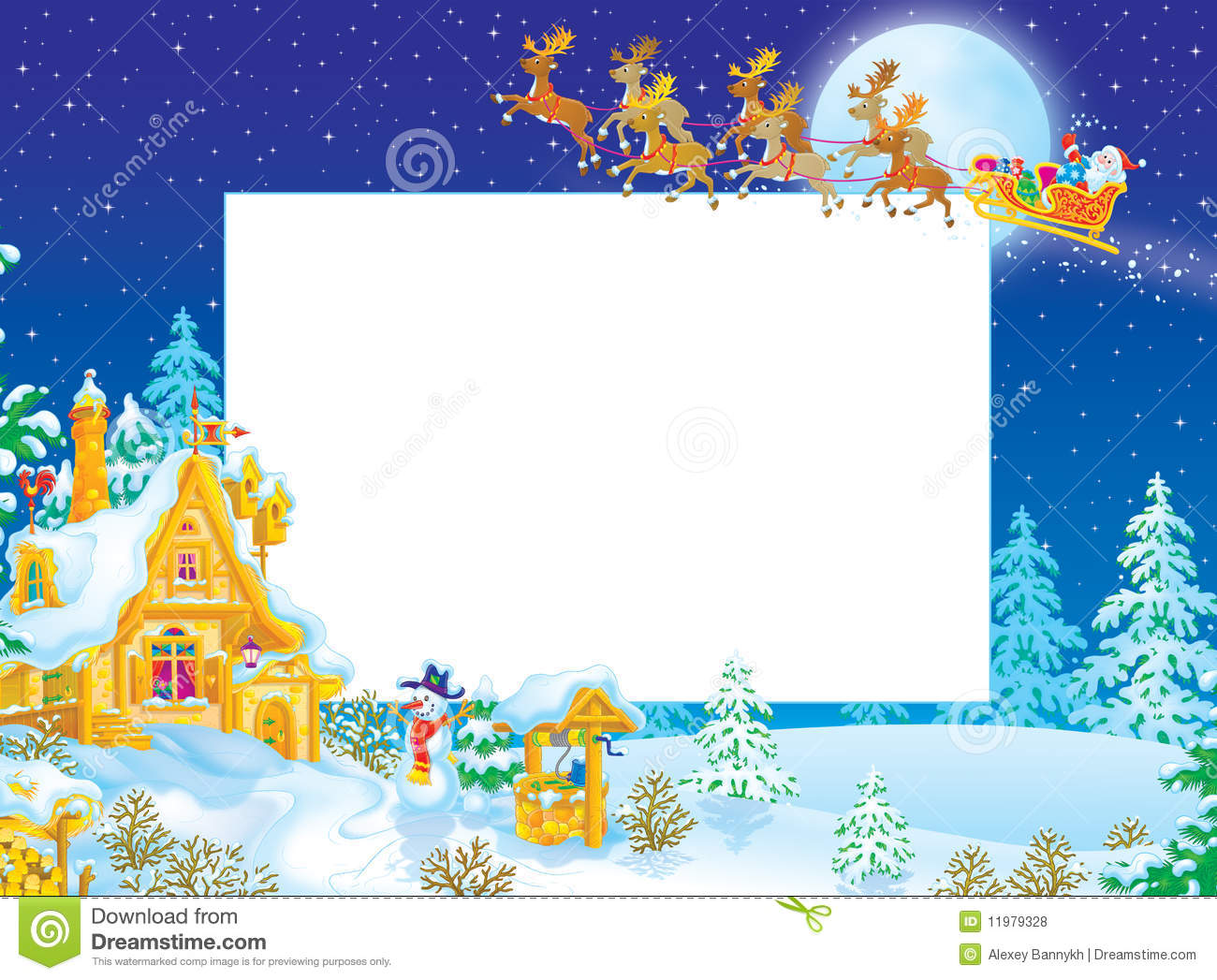 Christmas border with Santa Claus flying in the sledge with reindeers ...