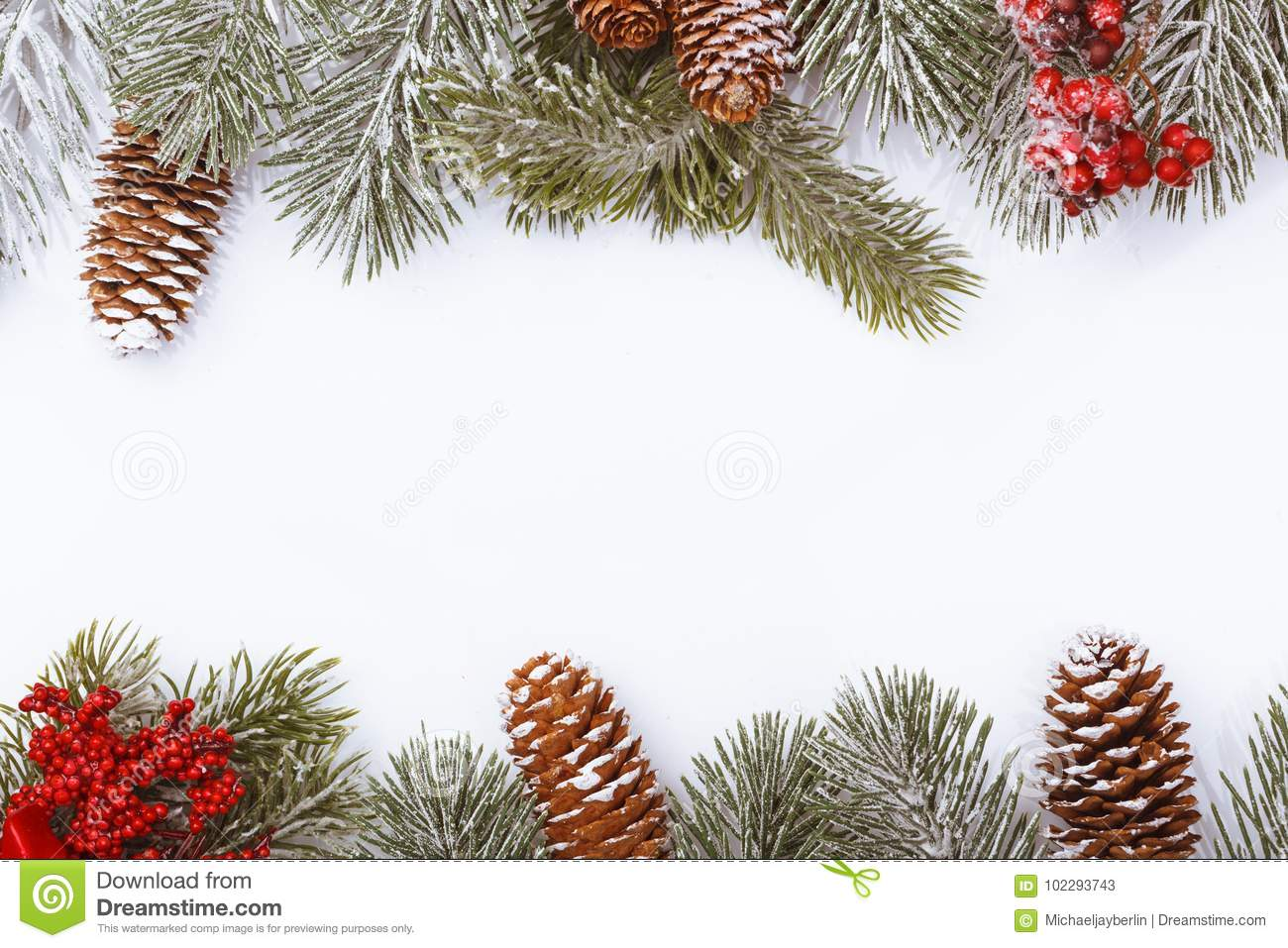 Christmas frame border on white, branches, cones and red berries