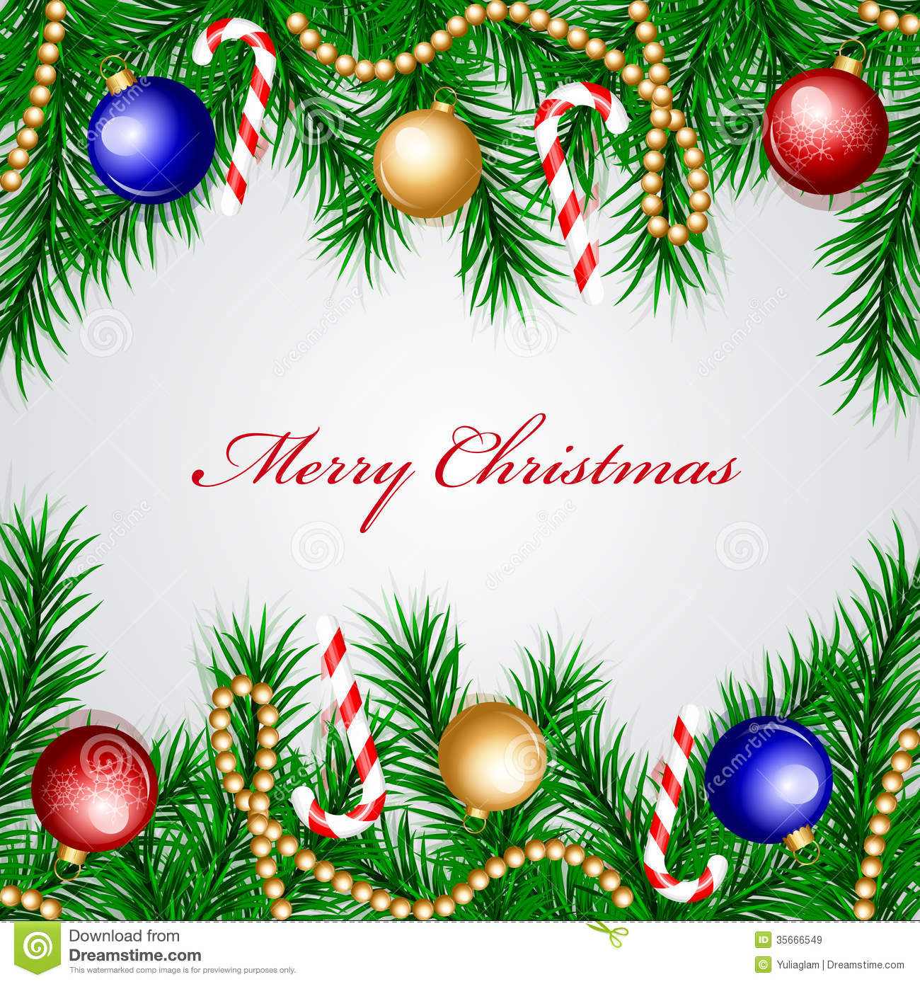 Christmas Frame With Colorful Decorations Royalty Free