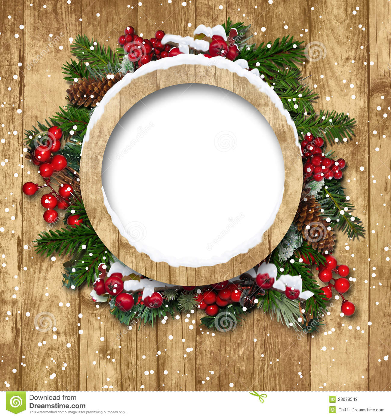 Christmas Frame With Decorations On A Wooden Stock Image