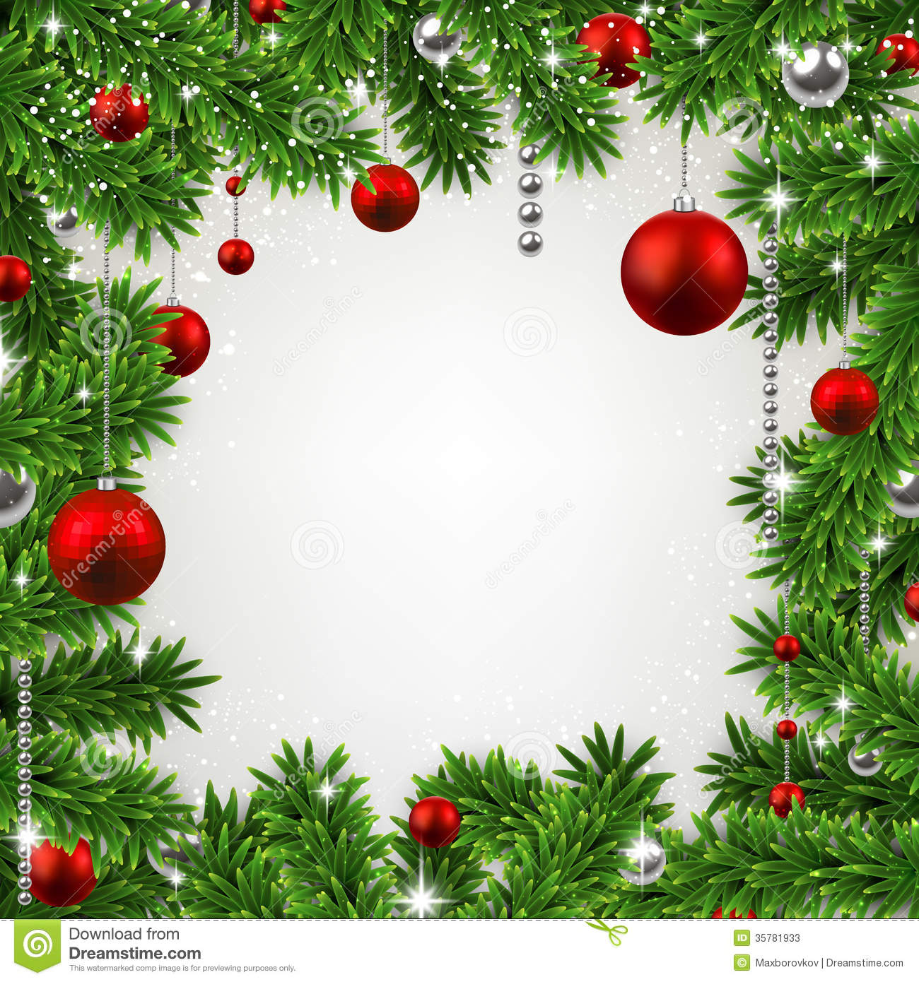 christmas frame with fir branches and balls stock vector