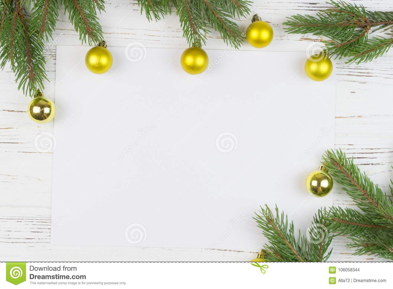 christmas frame with fir tree on rustic wood copy space for text new