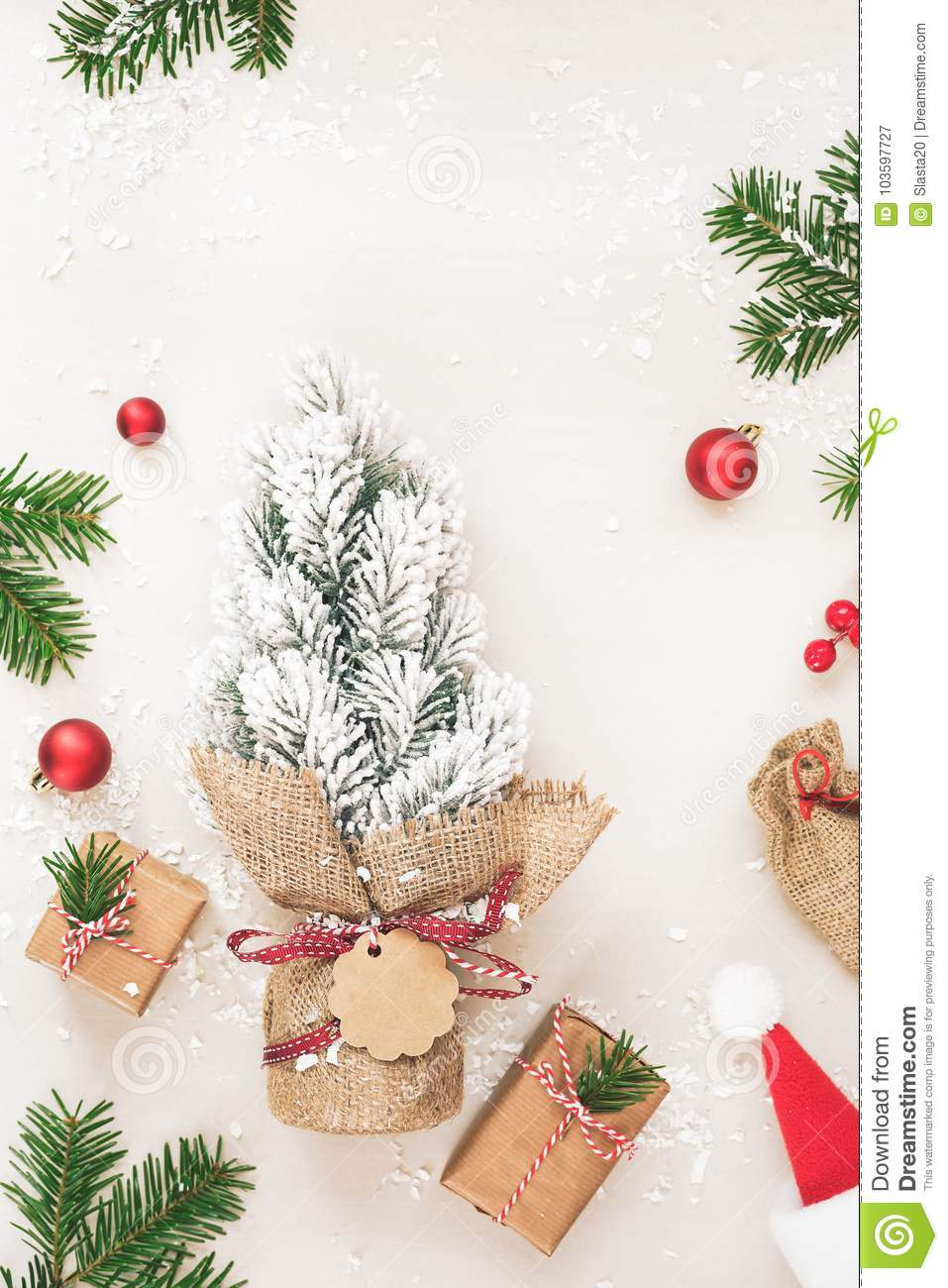 Christmas Frame Of Gifts And Fir Tree On White Stock Image - Image ...