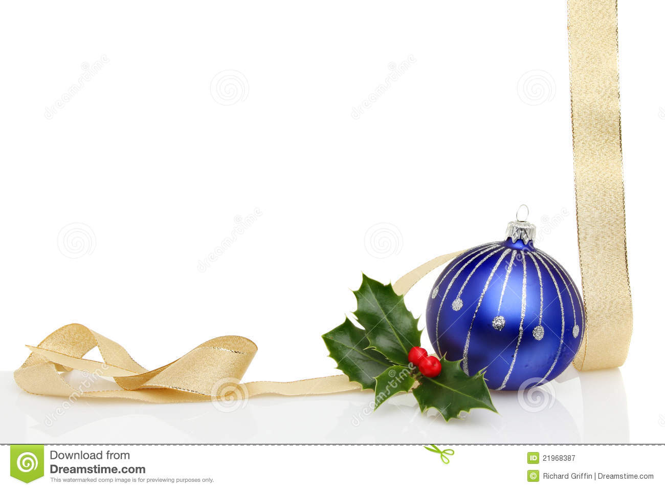 Christmas frame gold ribbon blue bauble royalty free stock for Blue and gold christmas