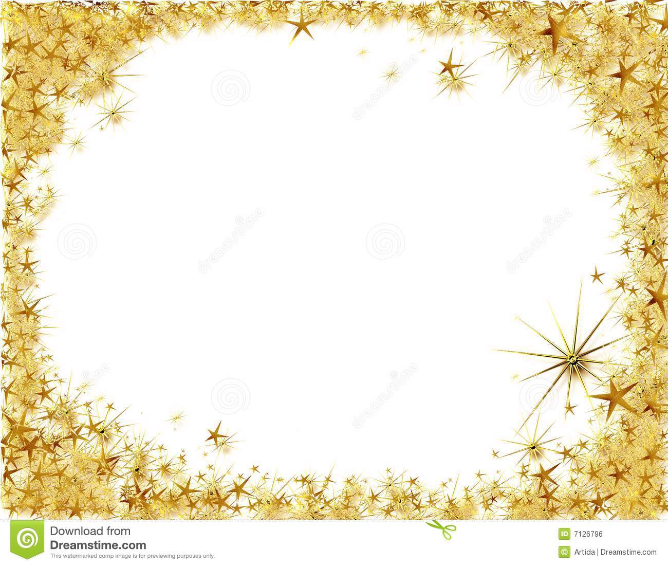 Christmas Frame With Golden Stars Royalty Free Stock Image - Image ...