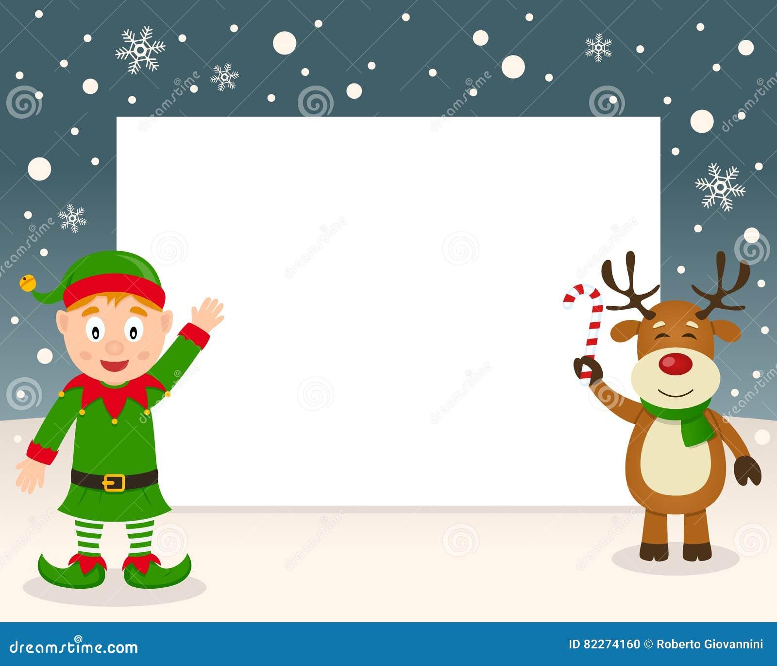 Funny Elf And Reindeer Cartoon Vector Cartoondealer Com