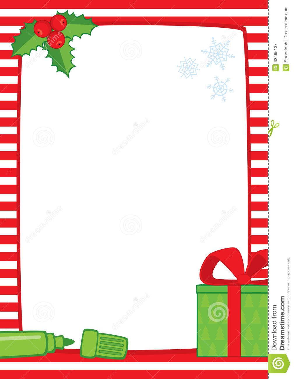 Christmas Frame With Marker And Gift A3 Stripes Stock