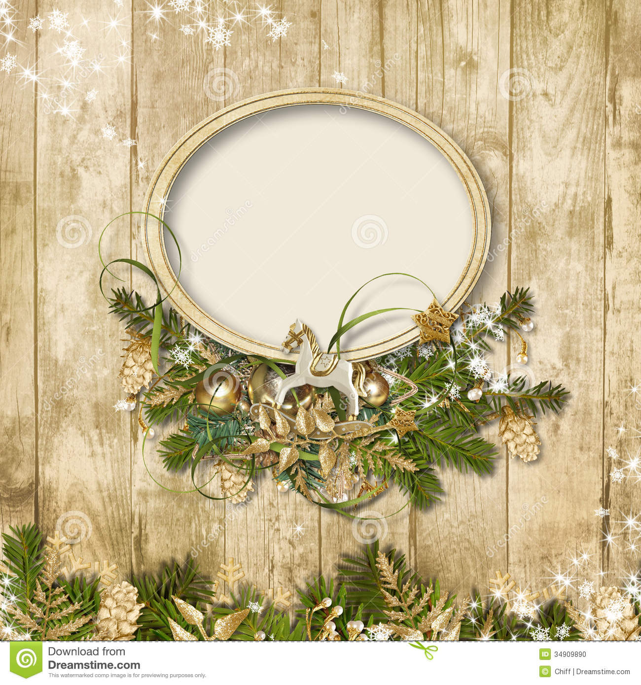 Christmas frame with miraculous garland on a wooden