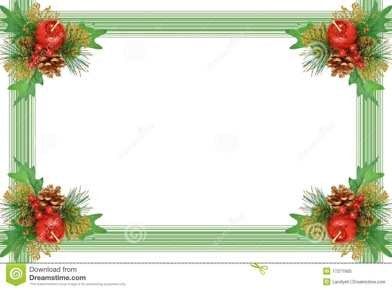 Picture frame christmas ornaments - Christmas Frame Ornament With Green Branch Royalty Free Stock Photo