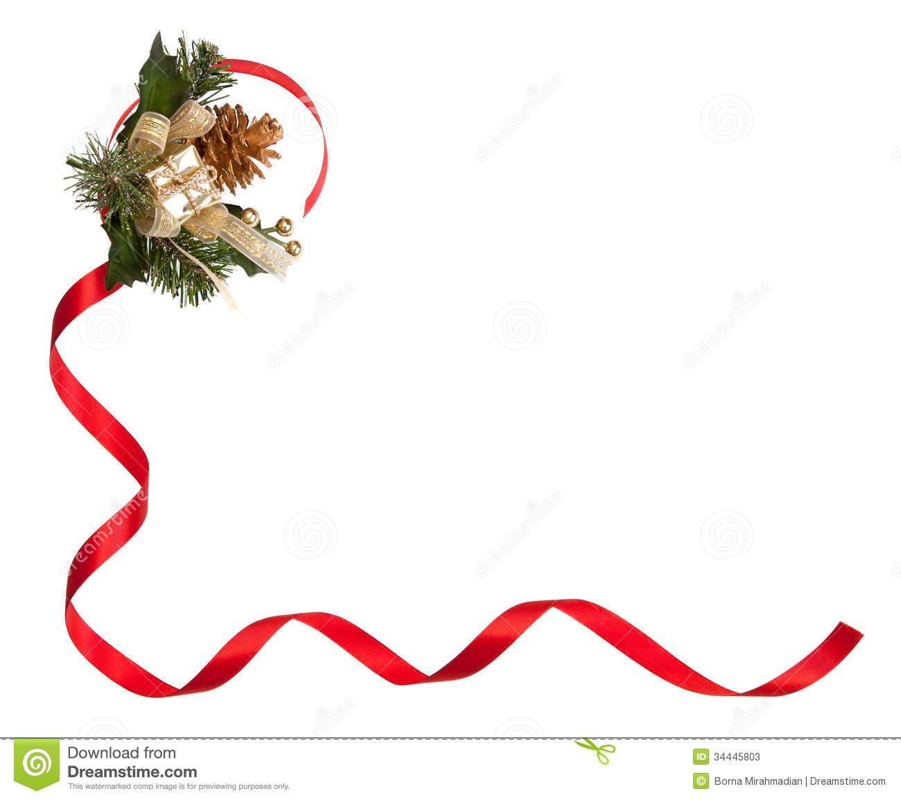 Christmas frame with red ribbon golden pine cone and