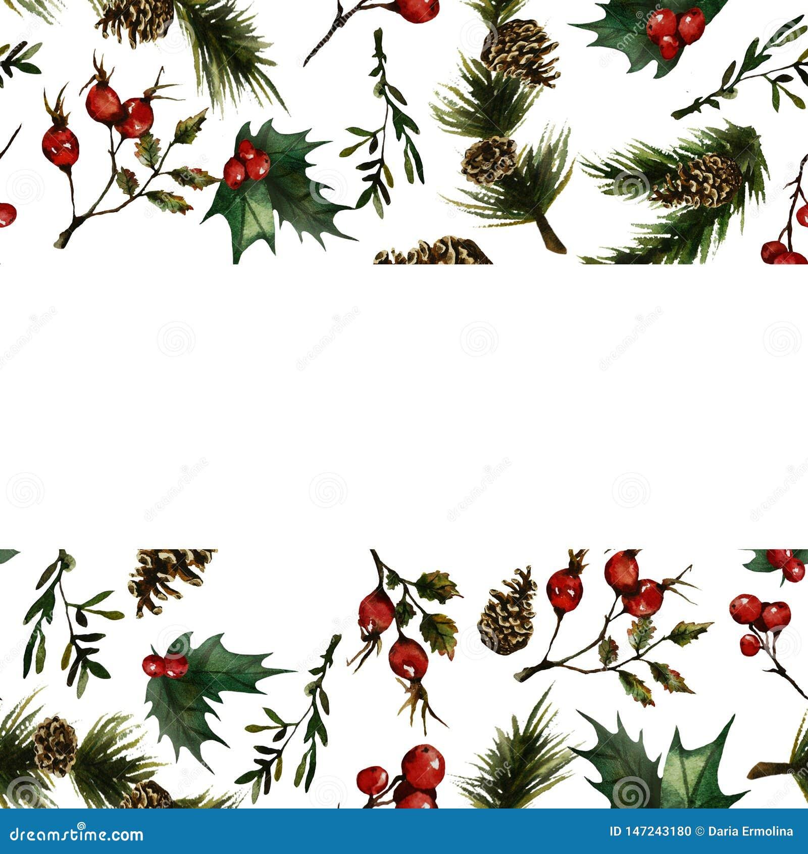 Christmas frame with rosehip