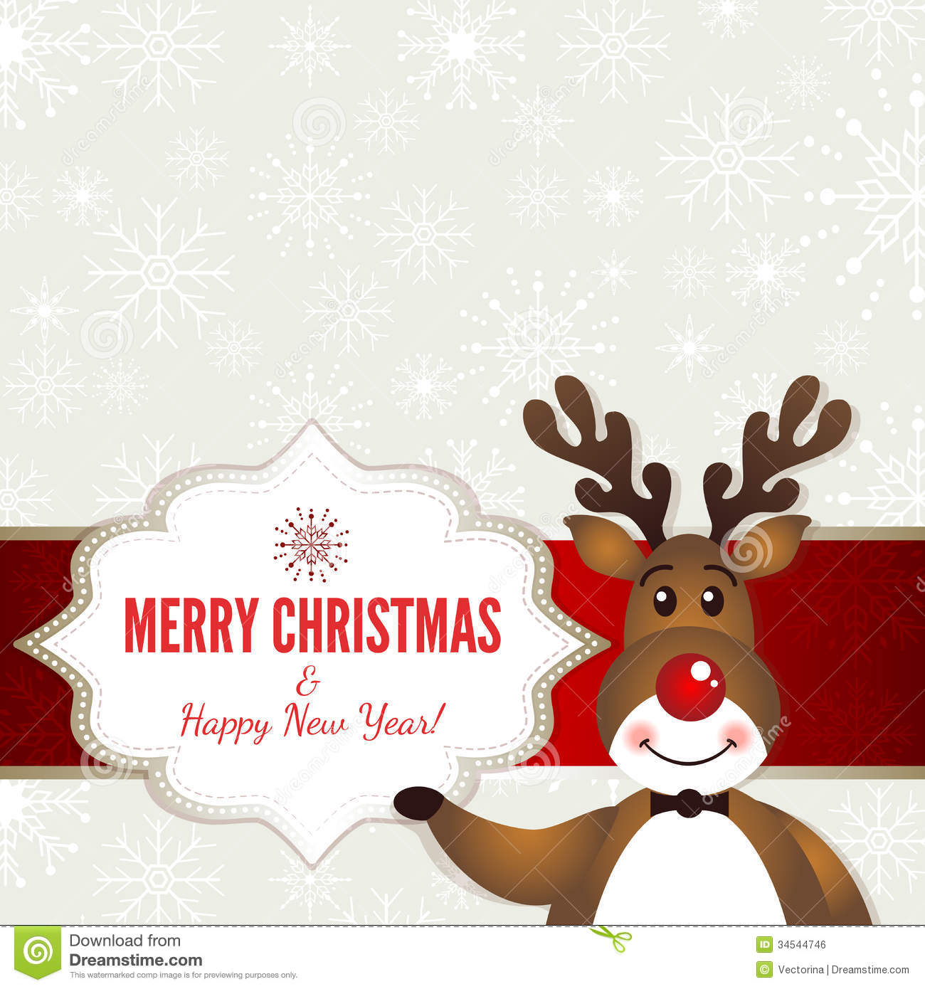 Rudolph Christmas Cartoon Banner Stock Photography - Image: 16966502