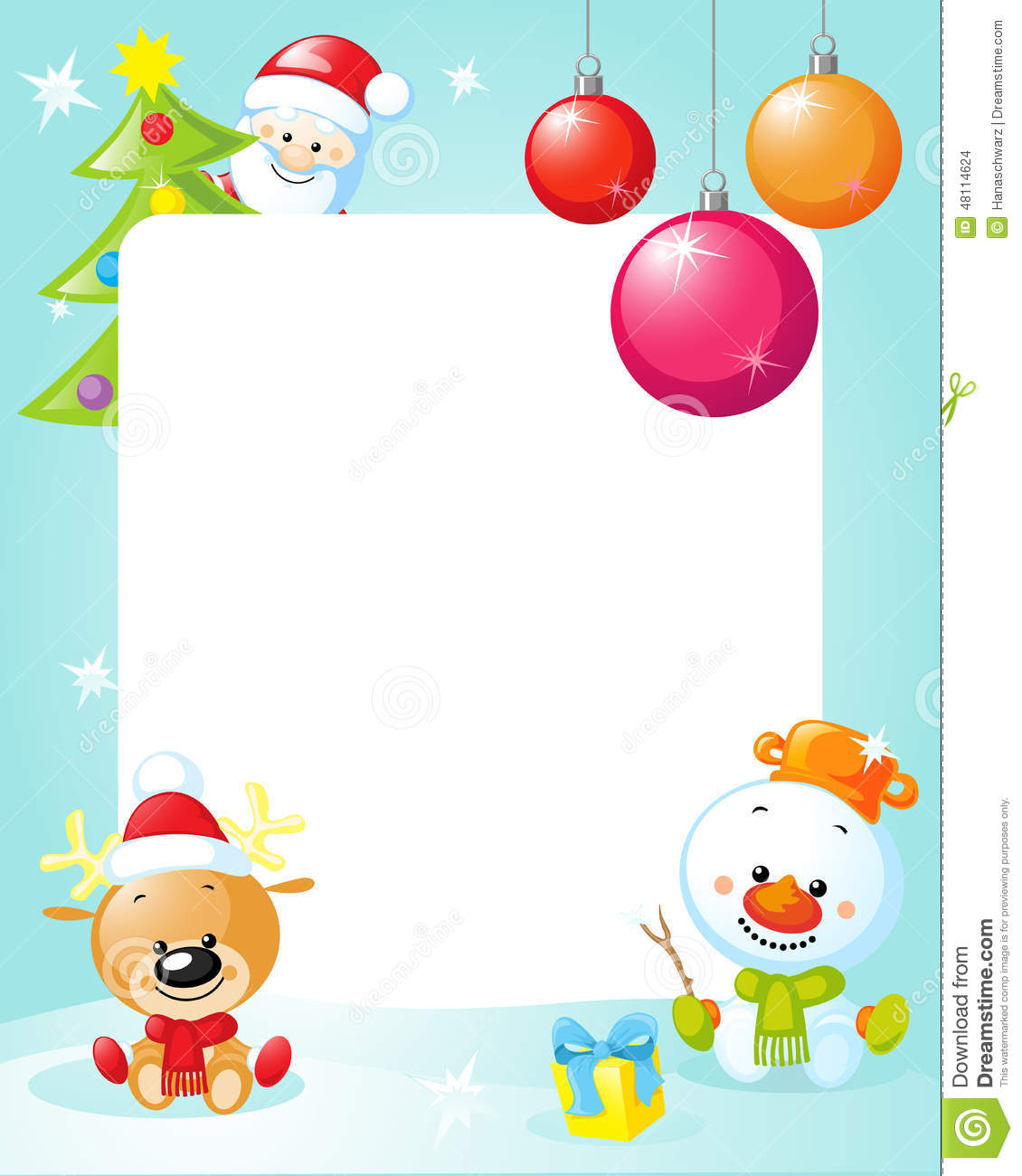 Download Christmas Frame With Snowman Xmas Tree Ball And Reindeer Stock Vector