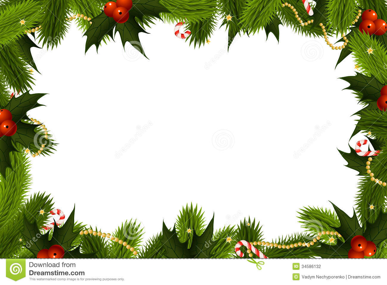 Christmas Frame Template with fir mistletoe and decoration.