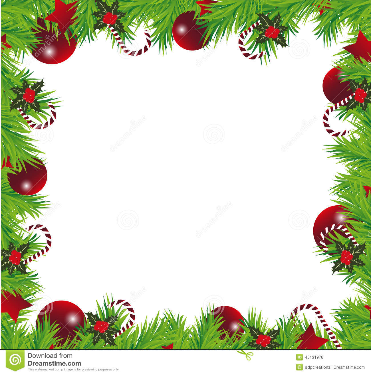 Vector illustration of christmas balls, stars, berries and holly ...