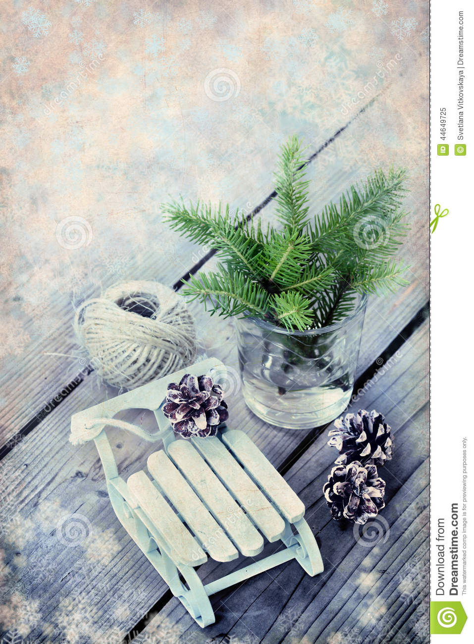 Christmas Frame With Wooden Decorations Vintage Background