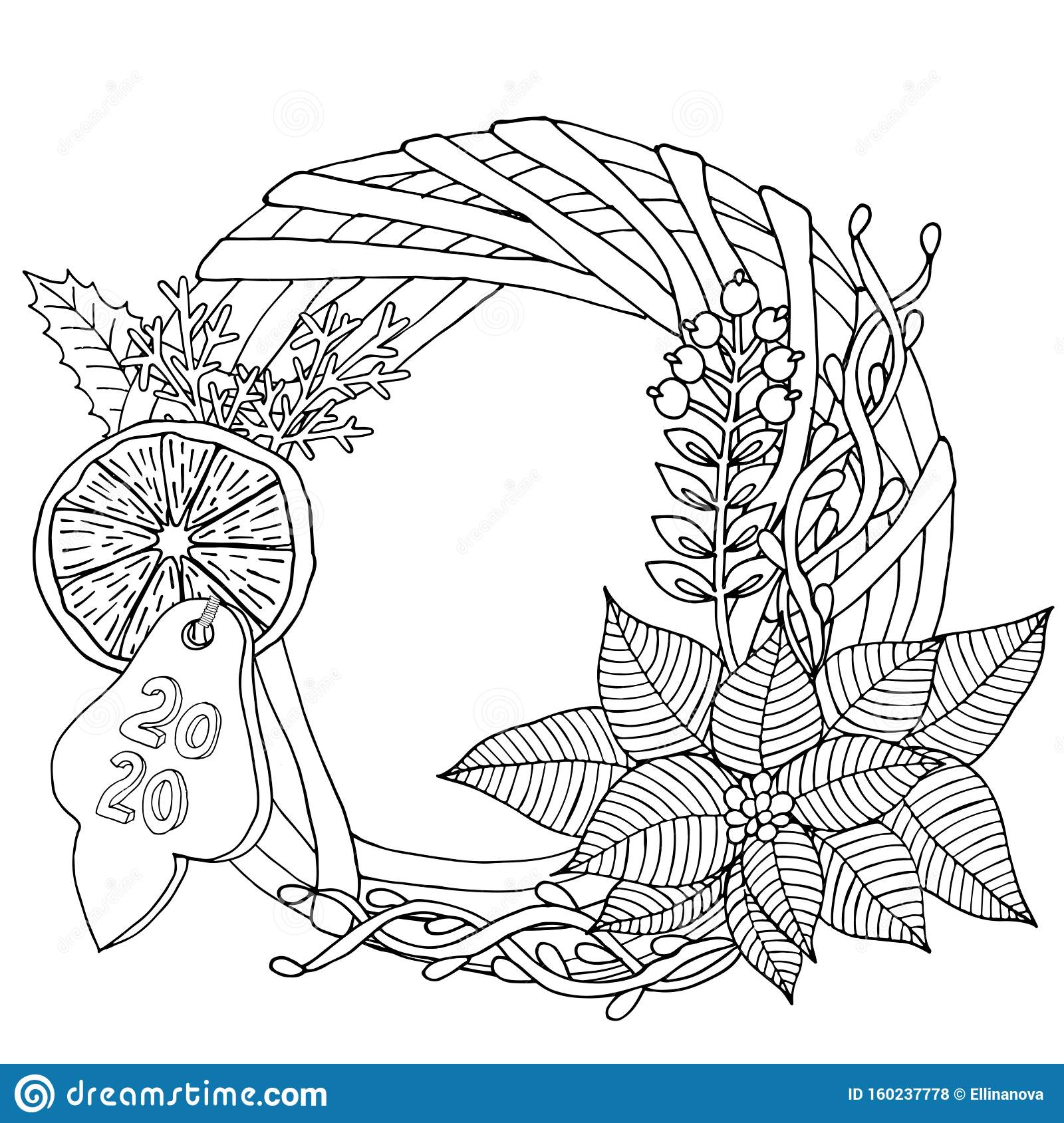 Christmas 2020 Frame Or Wreath Coloring Book Or Page Stock ...