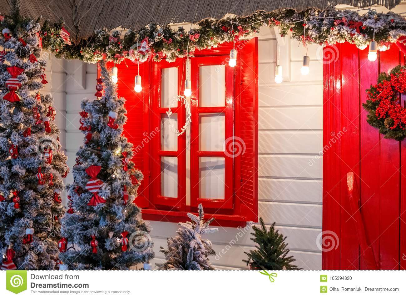 Christmas Front Door Of A Country House Background Decorated Wi