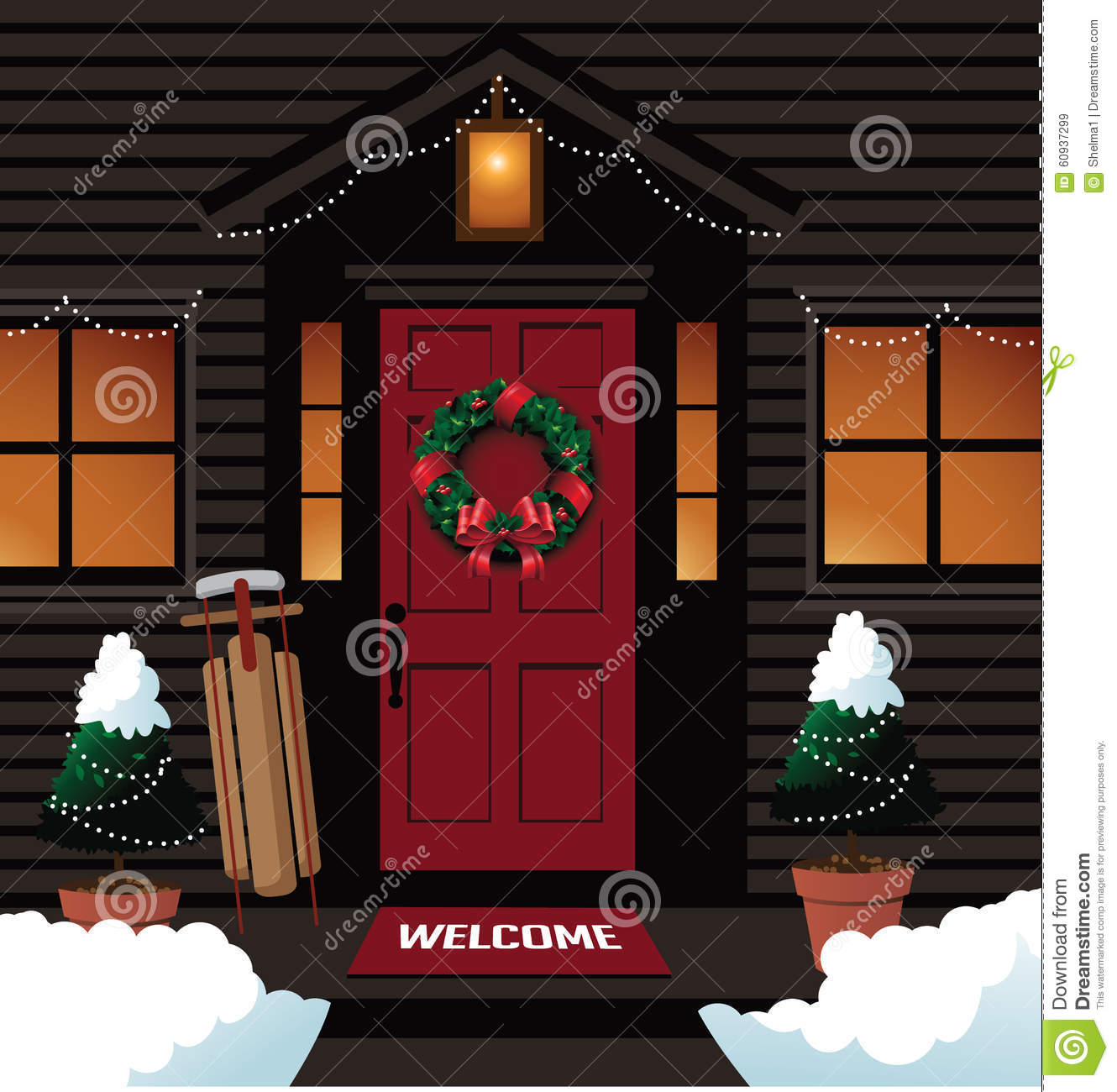 Christmas Front Door With Sleigh Wreath And Trees Stock Vector