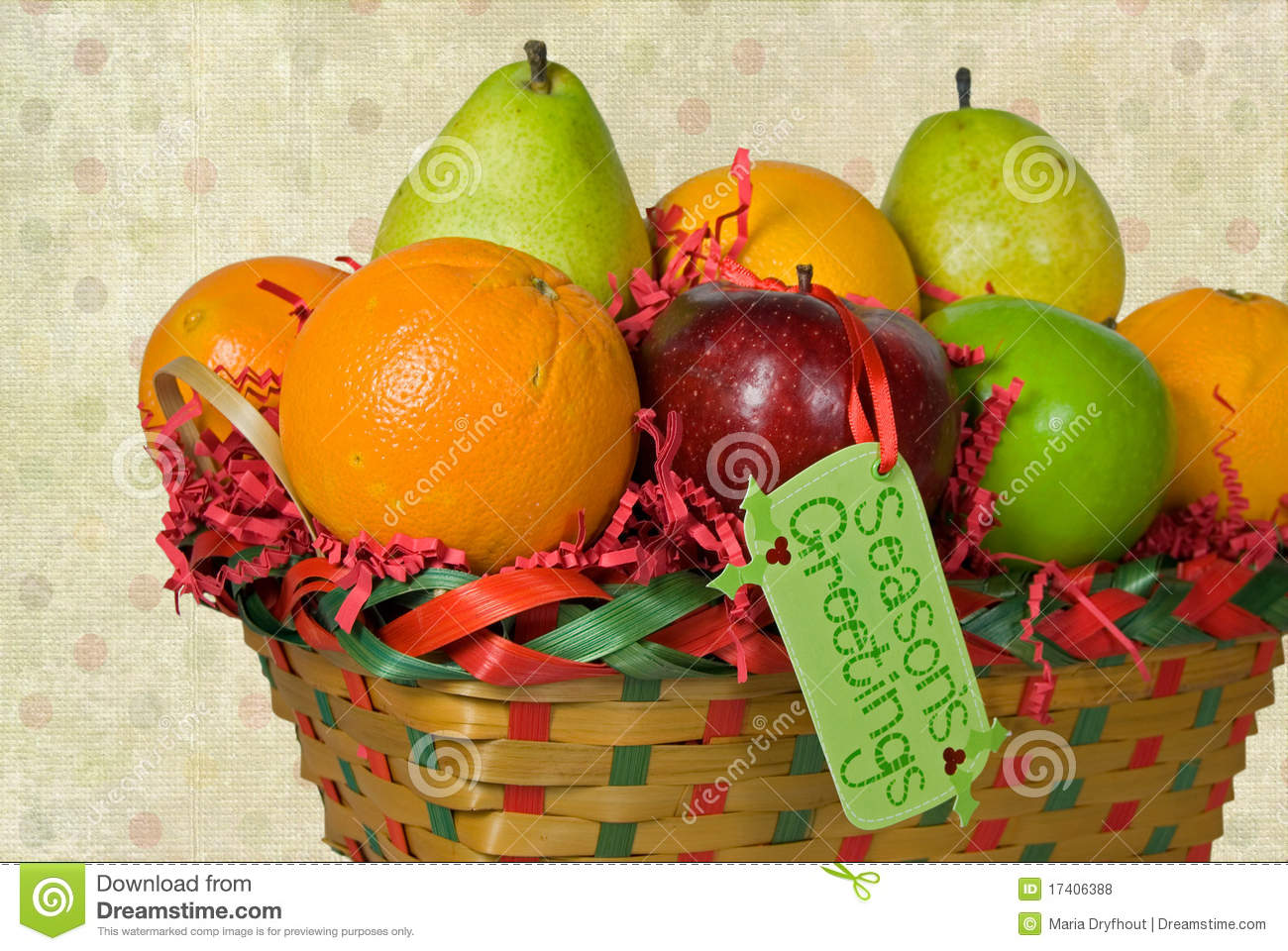 Fresh fruit in christmas fruit basket with tag