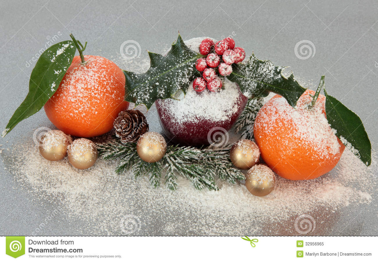 Christmas fruit decoration stock image image of season for Fruit orange decoration