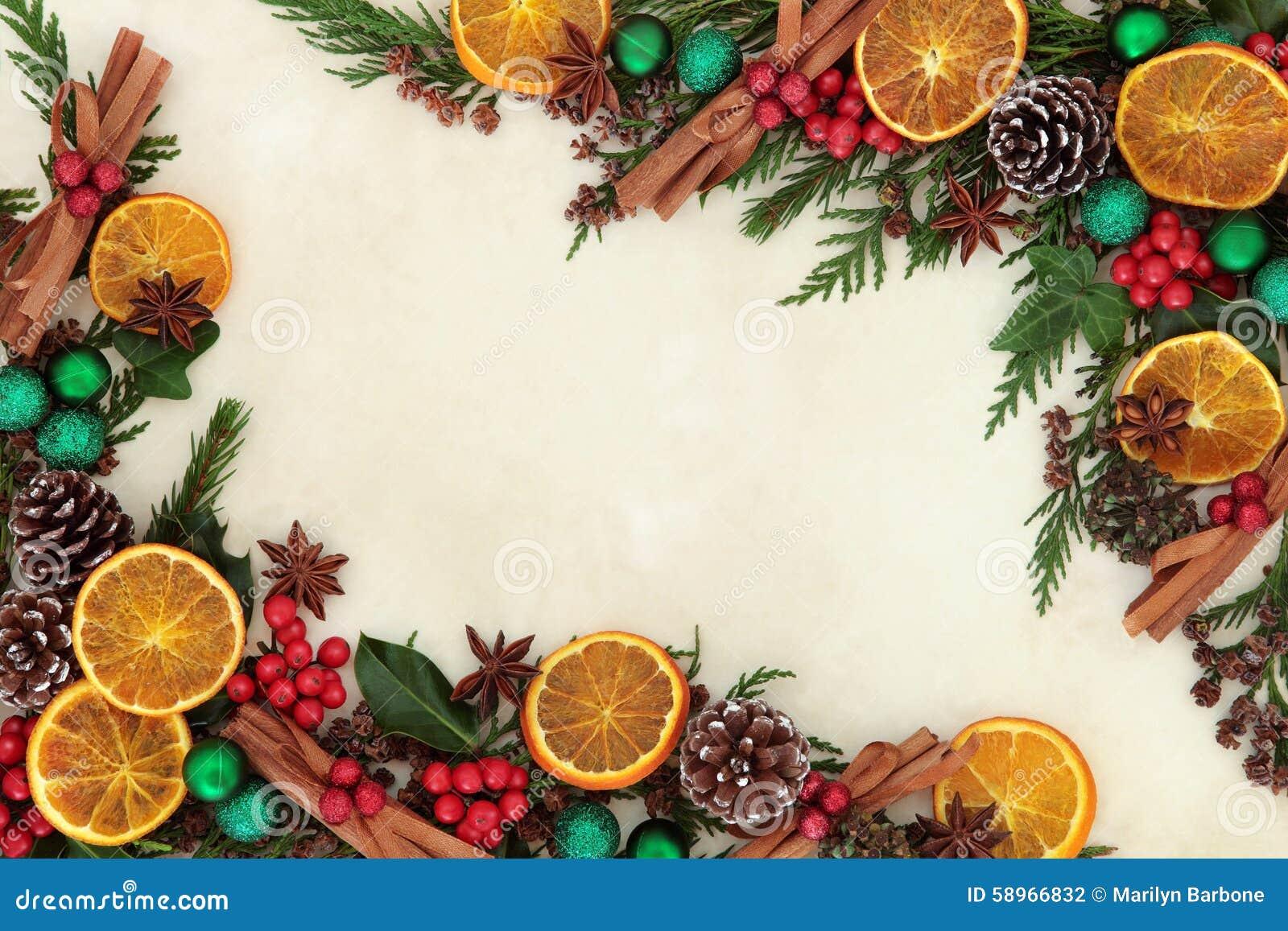 Christmas Fruit Decorations Part - 18: Background Bauble Border Christmas Dried Fruit ...