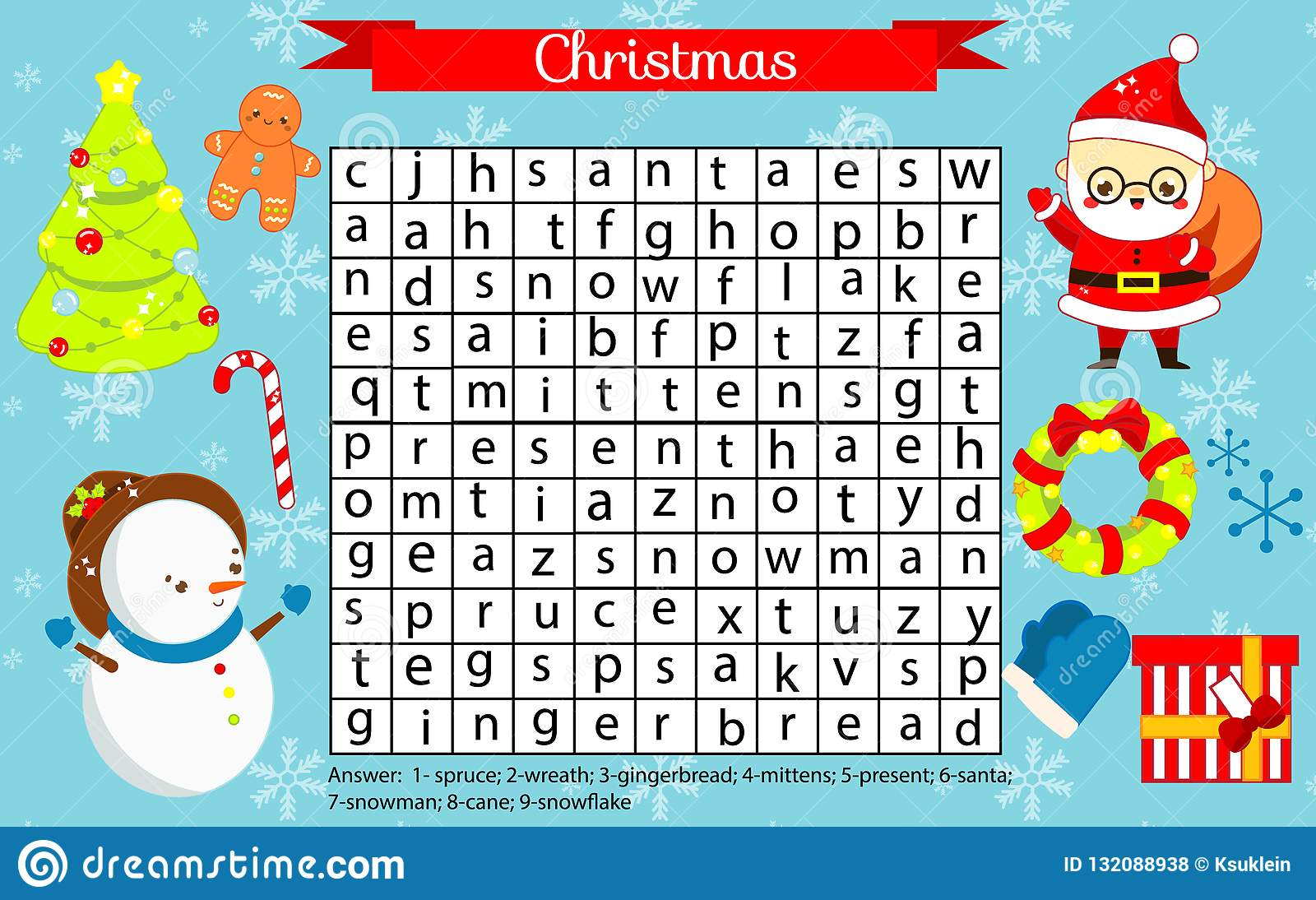 Christmas Fun Page For Kids. Children Eductaional Game