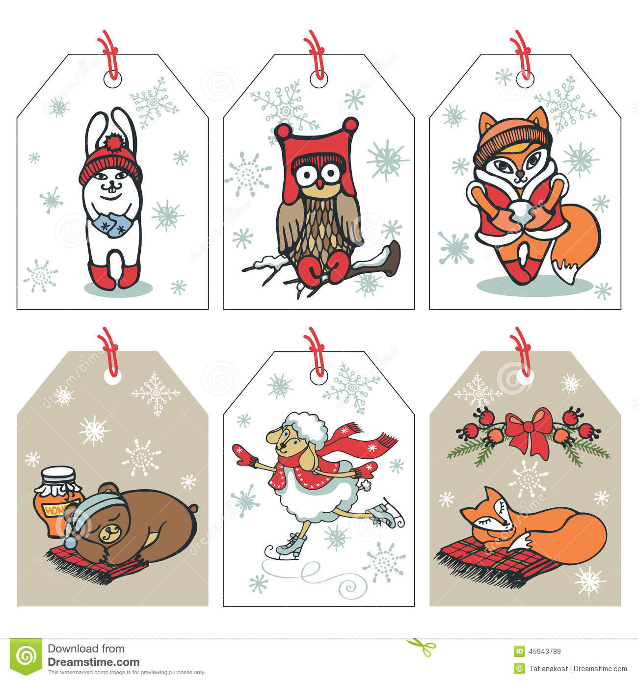 christmas funny animals tag set stock vector illustration 45943789. Black Bedroom Furniture Sets. Home Design Ideas