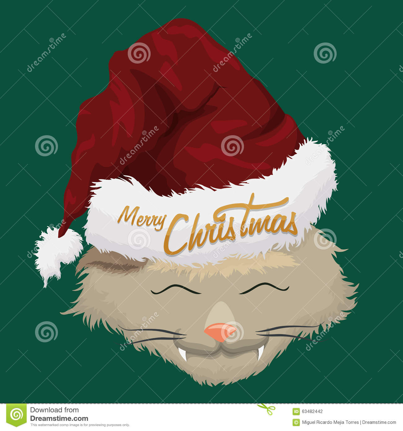 download christmas furry cat with santas hat vector illustration stock vector illustration of traditional - Christmas Furry